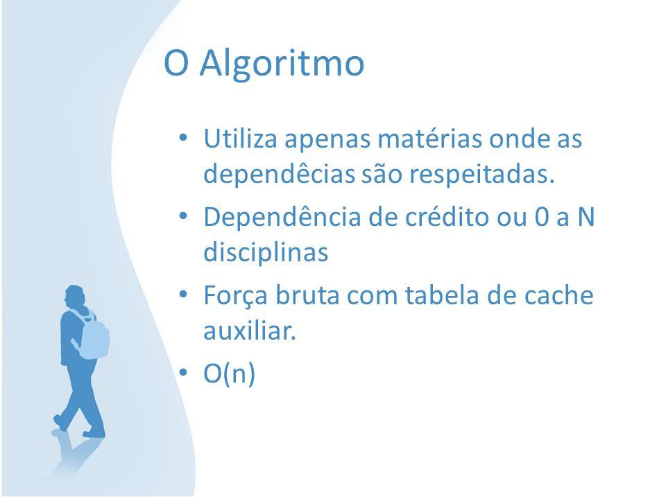O Algoritmo Utiliza apenas matérias onde as dependêcias são respeitadas. Dependência de crédito ou 0 a N disciplinas.