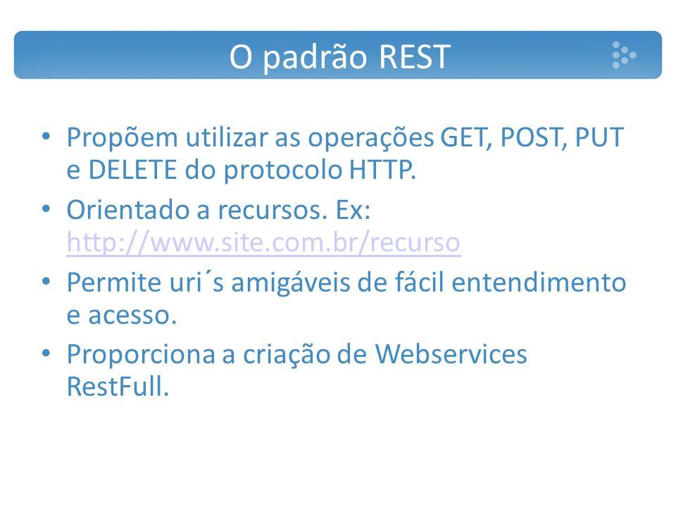 O padrão REST Propõem utilizar as operações GET, POST, PUT e DELETE do protocolo HTTP. Orientado a recursos. Ex: http://www.site.com.br/recurso.