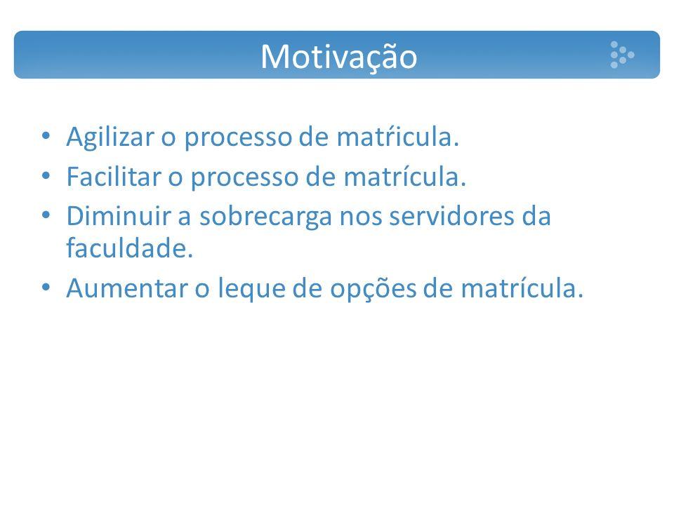 Motivação Agilizar o processo de matŕicula.