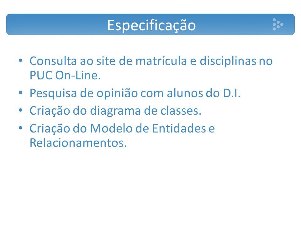 Especificação Consulta ao site de matrícula e disciplinas no PUC On-Line. Pesquisa de opinião com alunos do D.I.