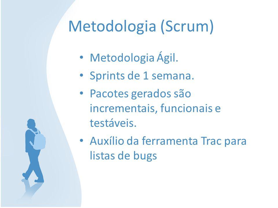 Metodologia (Scrum) Metodologia Ágil. Sprints de 1 semana.