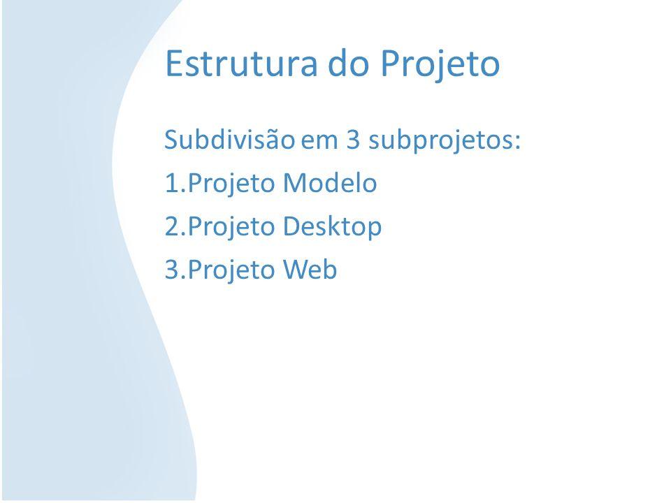 Estrutura do Projeto Subdivisão em 3 subprojetos: Projeto Modelo