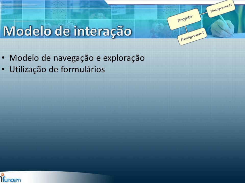 Modelo de interação Modelo de navegação e exploração