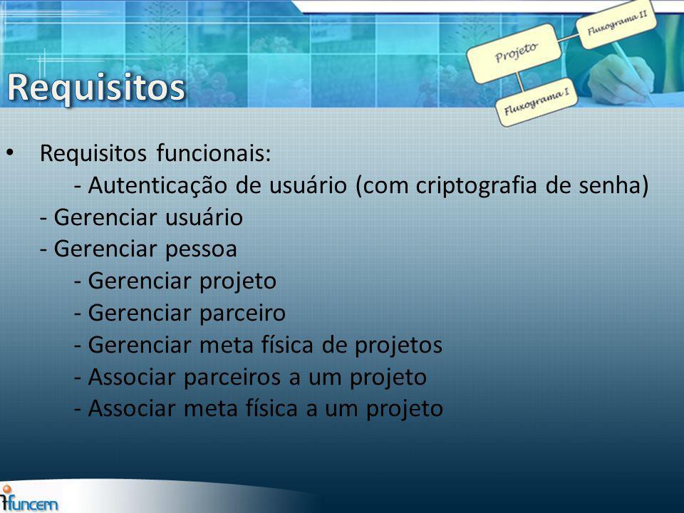 Requisitos Requisitos funcionais: - Autenticação de usuário (com criptografia de senha) - Gerenciar usuário.