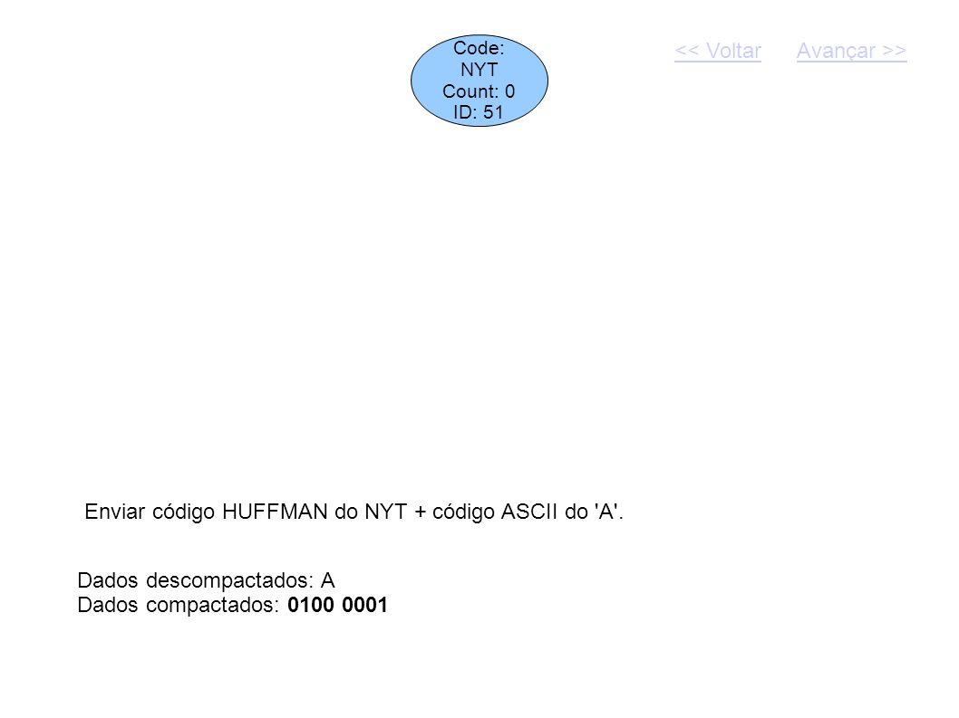 Enviar código HUFFMAN do NYT + código ASCII do A .