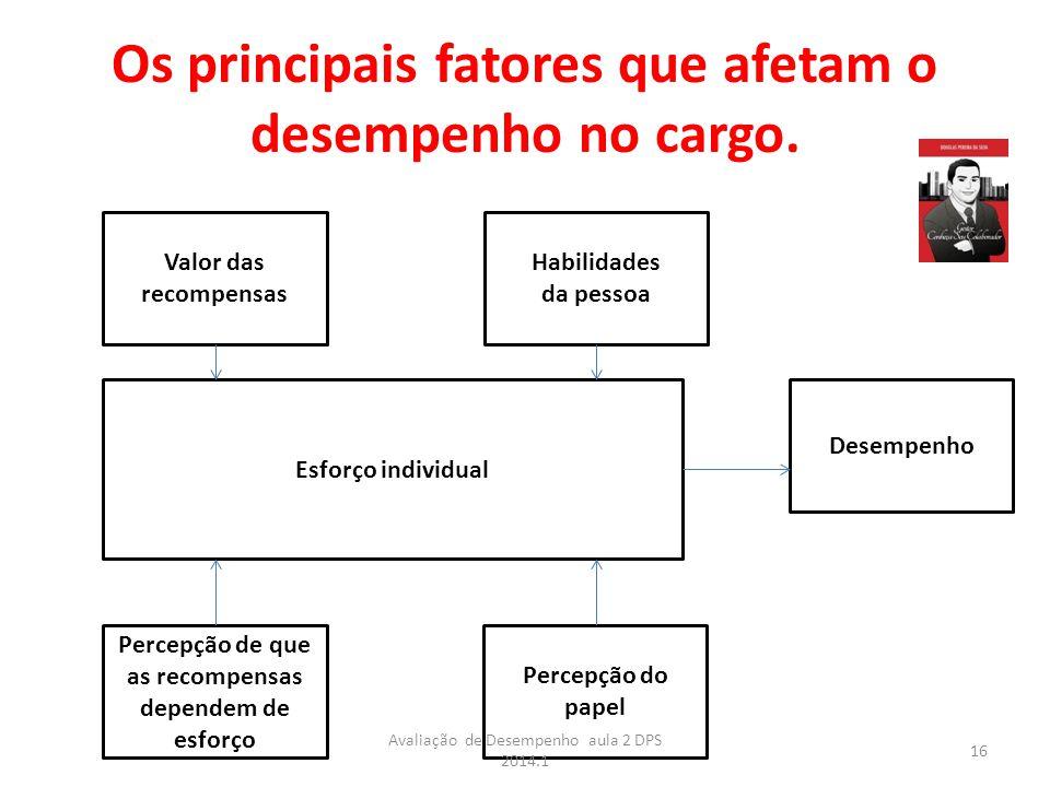 Os principais fatores que afetam o desempenho no cargo.