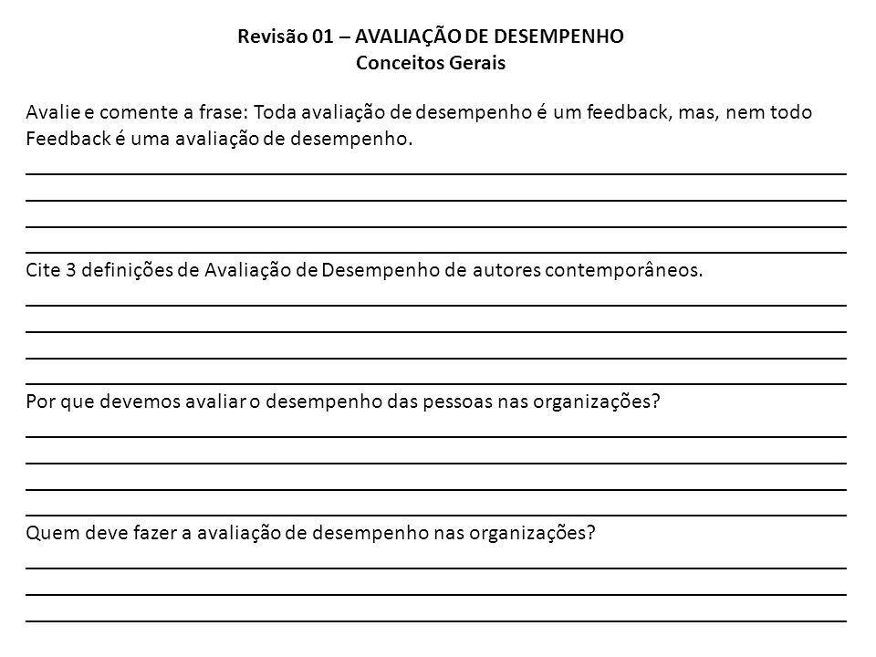 Revisão 01 – AVALIAÇÃO DE DESEMPENHO