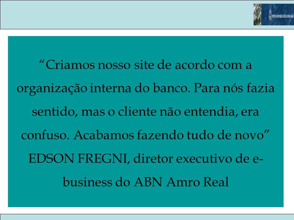 Criamos nosso site de acordo com a organização interna do banco