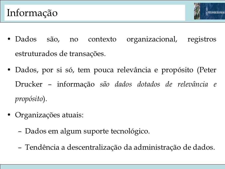 Informação Dados são, no contexto organizacional, registros estruturados de transações.