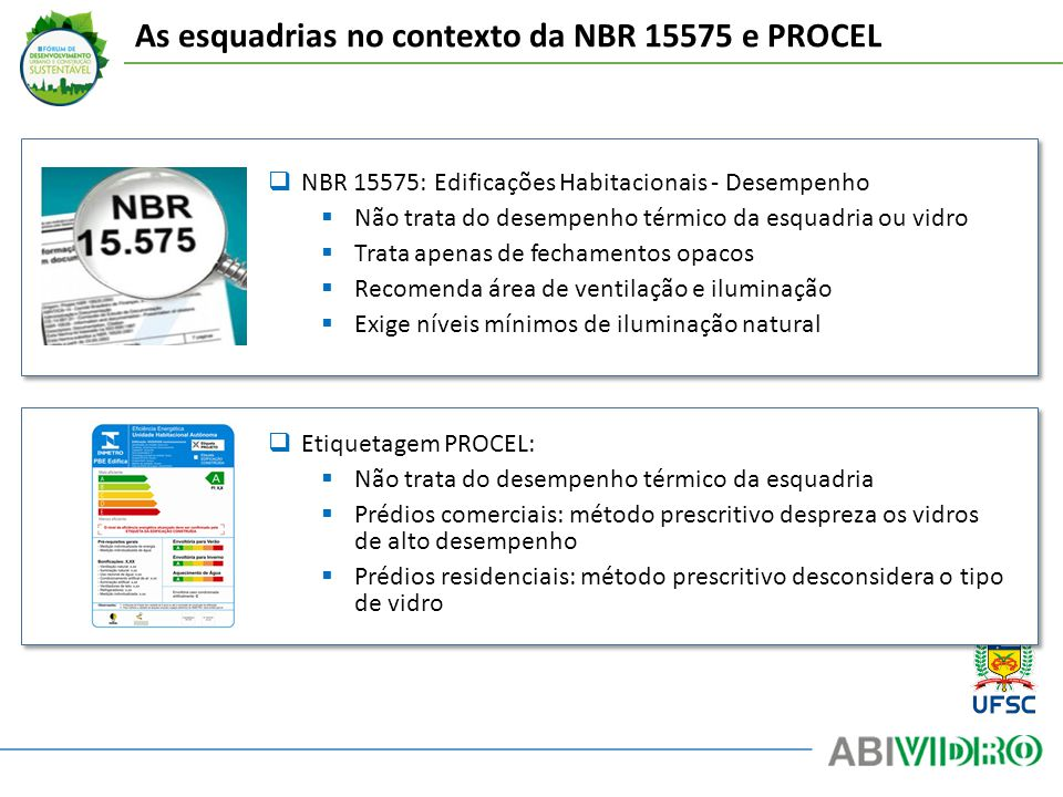 As esquadrias no contexto da NBR 15575 e PROCEL