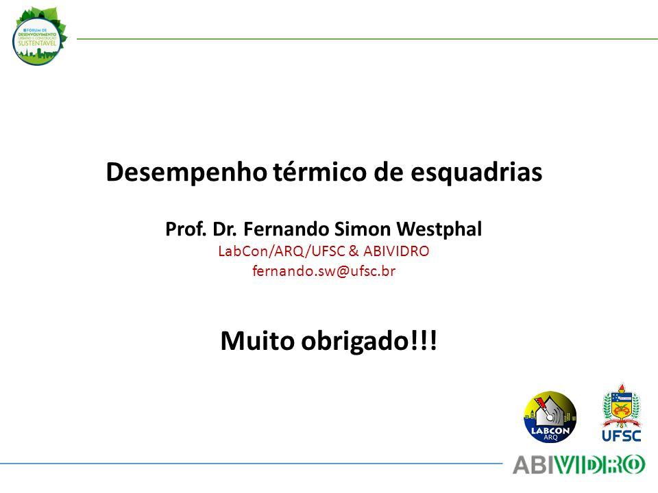 Desempenho térmico de esquadrias Prof. Dr. Fernando Simon Westphal