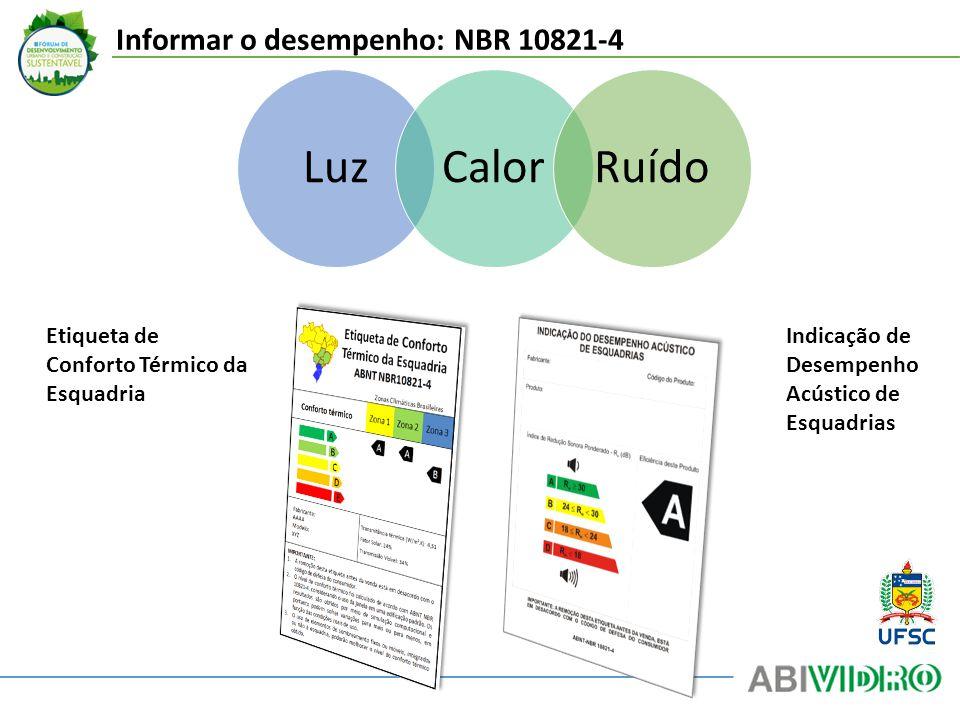 Luz Calor Ruído Informar o desempenho: NBR 10821-4