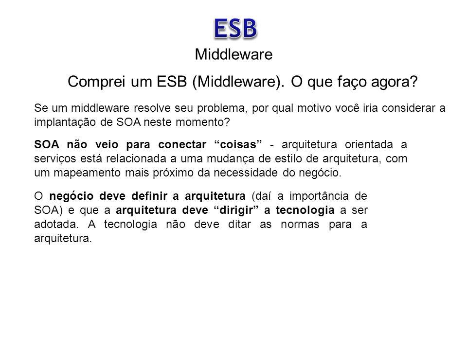 Comprei um ESB (Middleware). O que faço agora