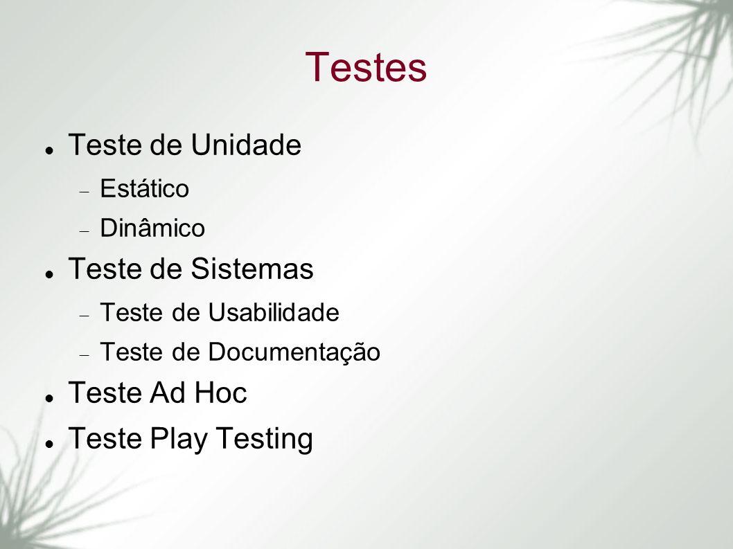Testes Teste de Unidade Teste de Sistemas Teste Ad Hoc