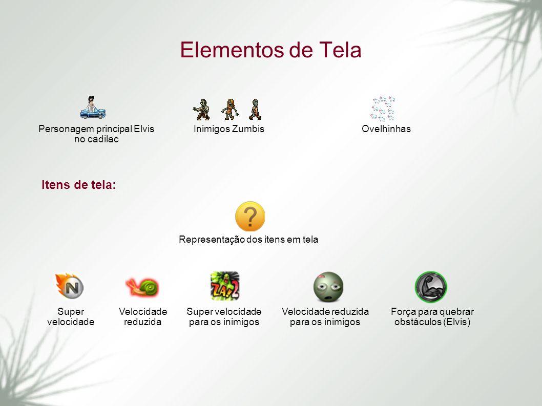 Elementos de Tela Itens de tela: Personagem principal Elvis no cadilac