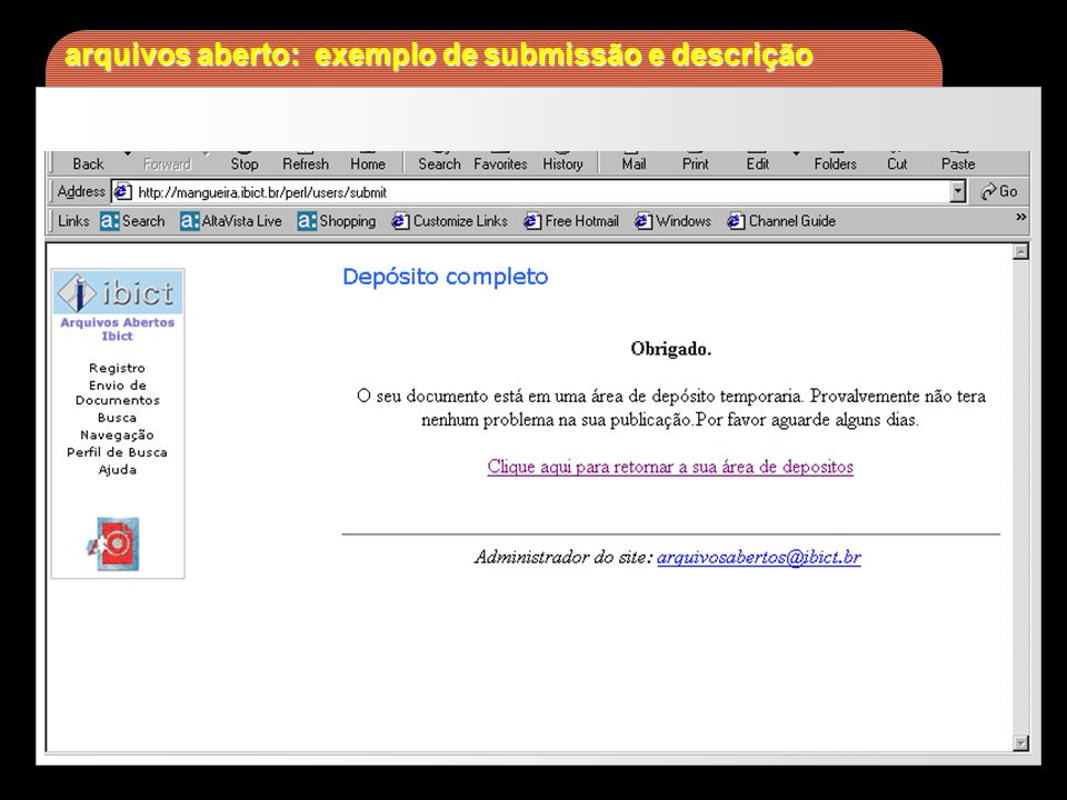 arquivos aberto: exemplo de submissão e descrição