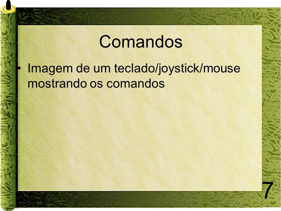 Comandos Imagem de um teclado/joystick/mouse mostrando os comandos