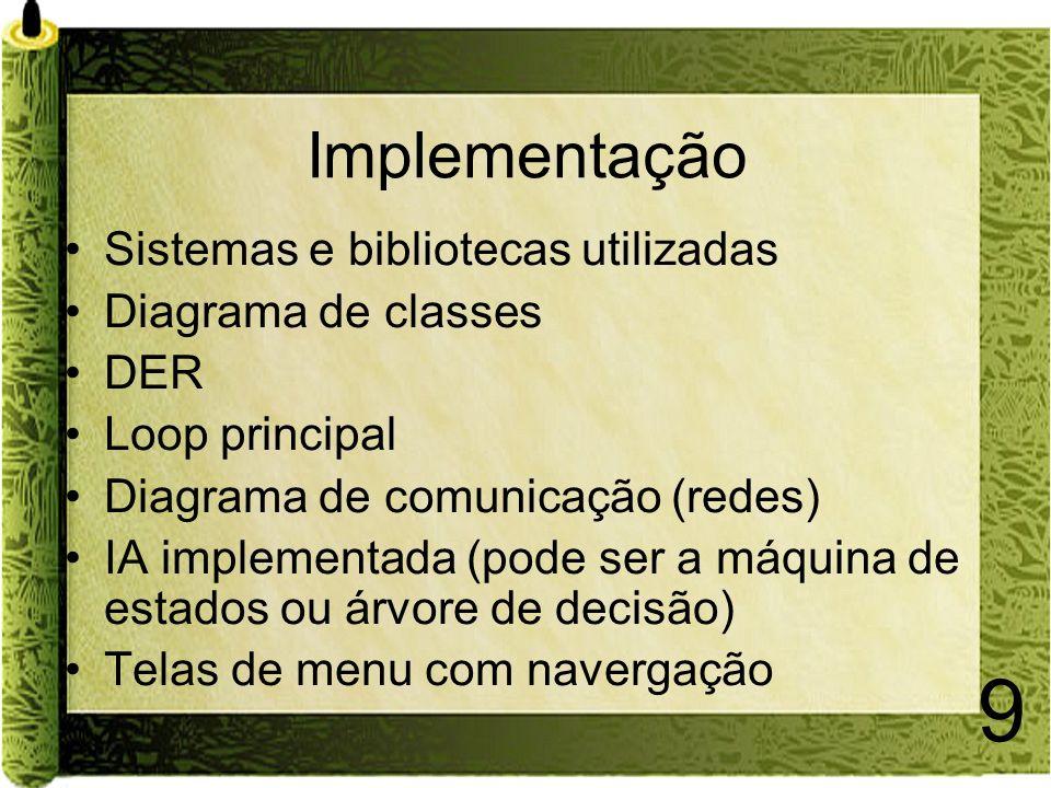 Implementação Sistemas e bibliotecas utilizadas Diagrama de classes