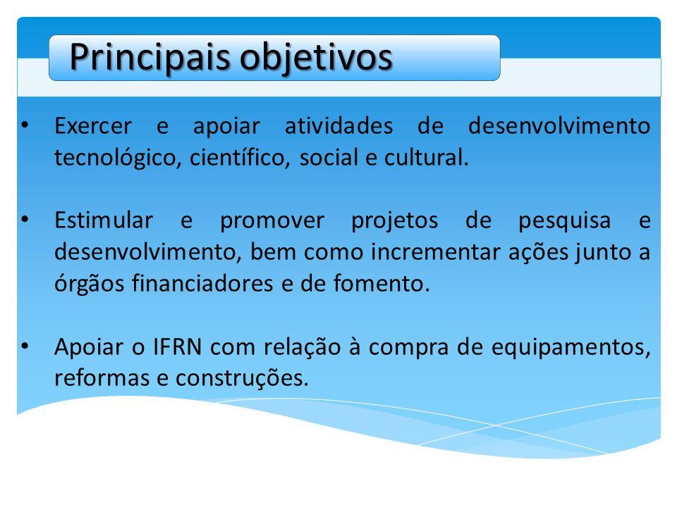 Principais objetivos Exercer e apoiar atividades de desenvolvimento tecnológico, científico, social e cultural.