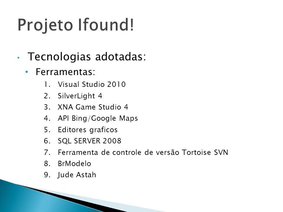 Projeto Ifound! Tecnologias adotadas: Ferramentas: Visual Studio 2010