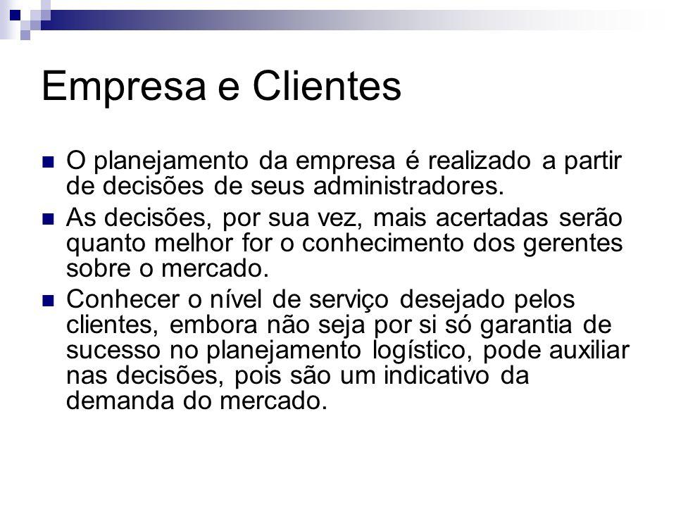 Empresa e Clientes O planejamento da empresa é realizado a partir de decisões de seus administradores.