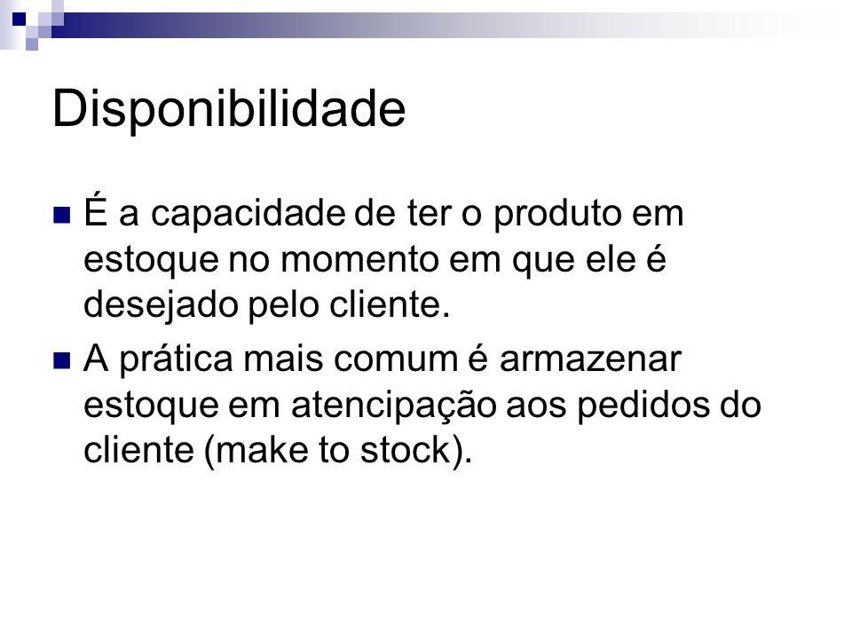 Disponibilidade É a capacidade de ter o produto em estoque no momento em que ele é desejado pelo cliente.