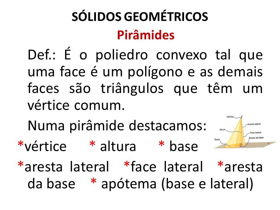 Numa pirâmide destacamos: *vértice * altura * base