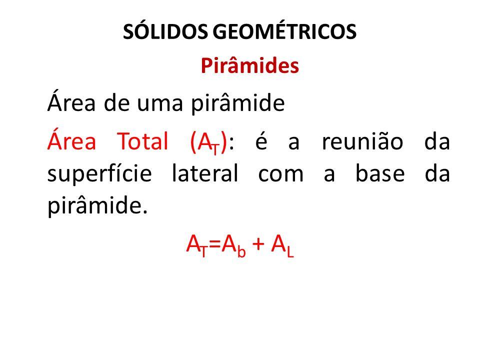 SÓLIDOS GEOMÉTRICOS Pirâmides. Área de uma pirâmide. Área Total (AT): é a reunião da superfície lateral com a base da pirâmide.