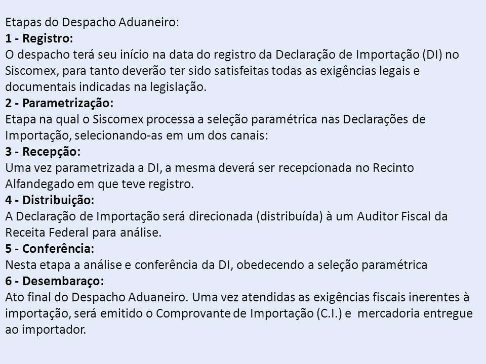 Etapas do Despacho Aduaneiro: 1 - Registro: O despacho terá seu início na data do registro da Declaração de Importação (DI) no Siscomex, para tanto deverão ter sido satisfeitas todas as exigências legais e documentais indicadas na legislação.