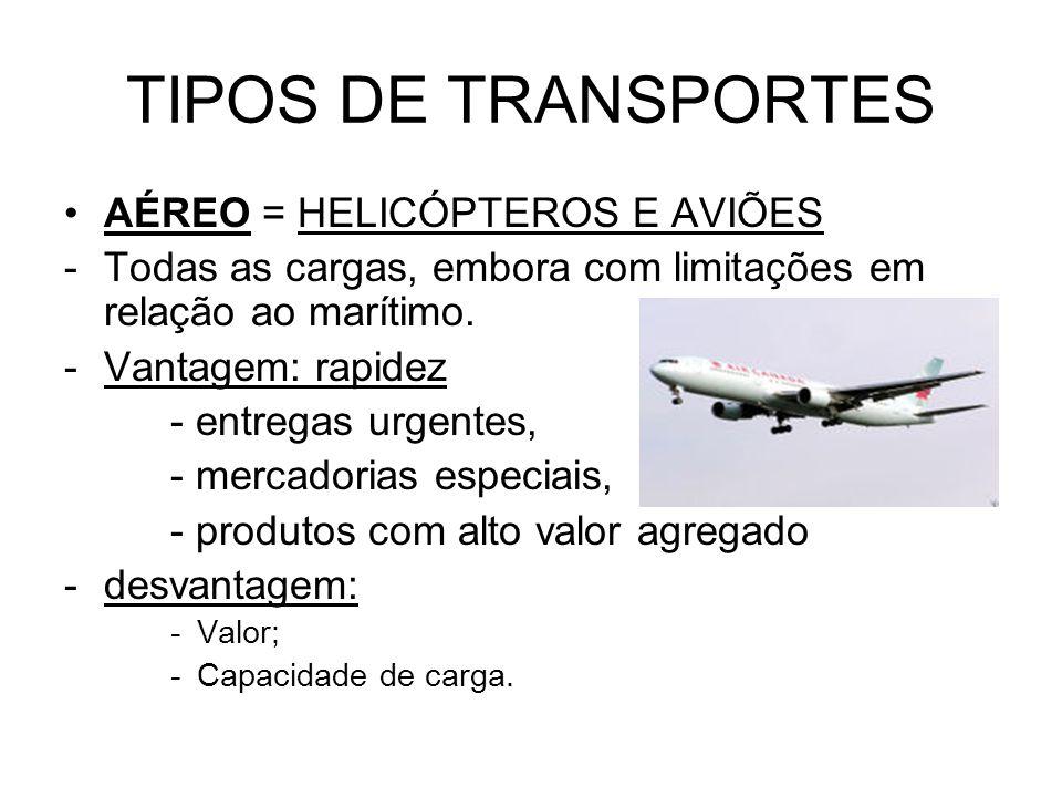 TIPOS DE TRANSPORTES AÉREO = HELICÓPTEROS E AVIÕES