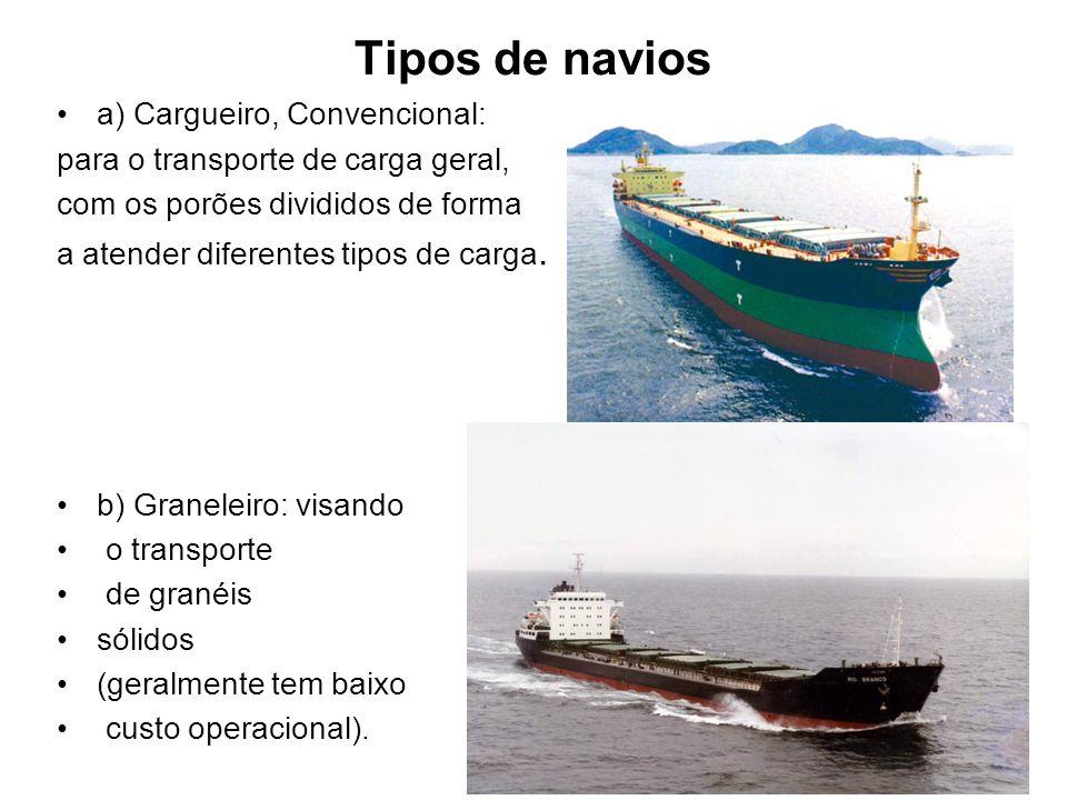 Tipos de navios a) Cargueiro, Convencional: