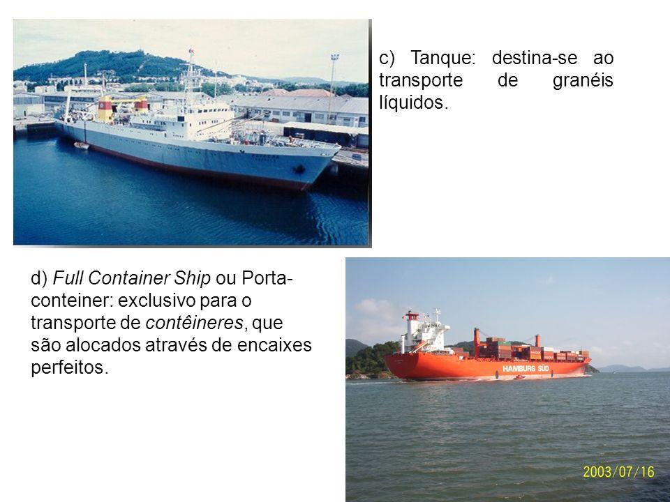 c) Tanque: destina-se ao transporte de granéis líquidos.