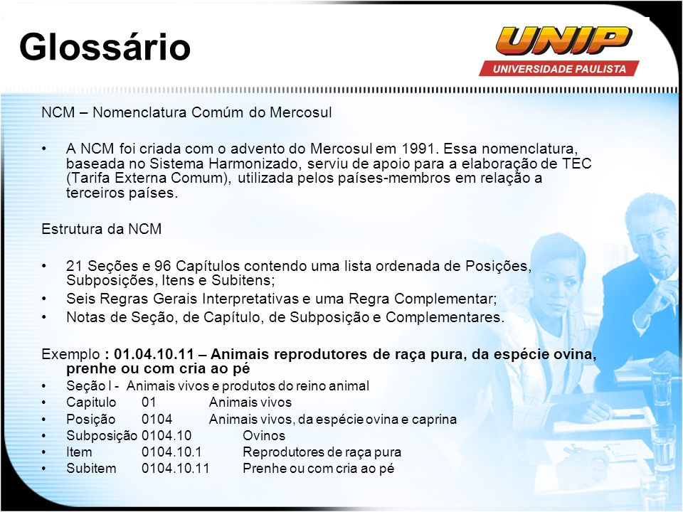 Glossário NCM – Nomenclatura Comúm do Mercosul