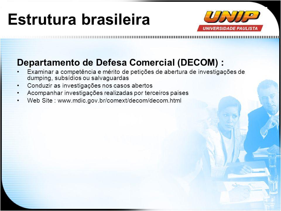 Estrutura brasileira Departamento de Defesa Comercial (DECOM) :