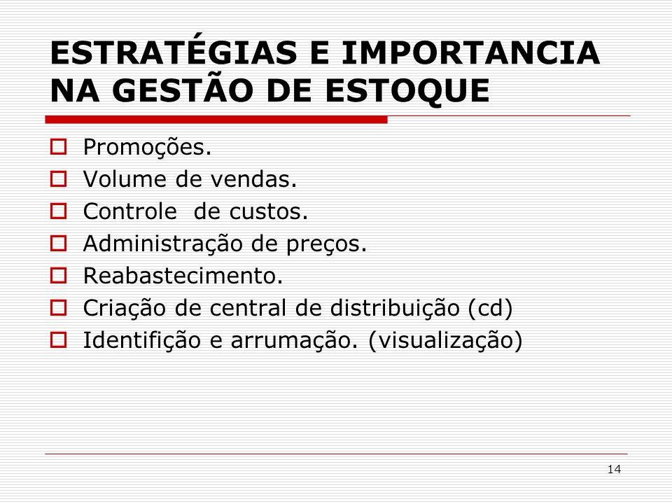 ESTRATÉGIAS E IMPORTANCIA NA GESTÃO DE ESTOQUE
