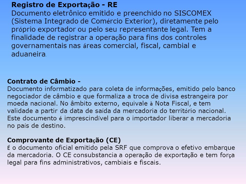 Registro de Exportação - RE