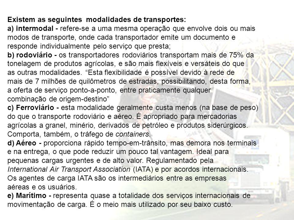 Existem as seguintes modalidades de transportes: