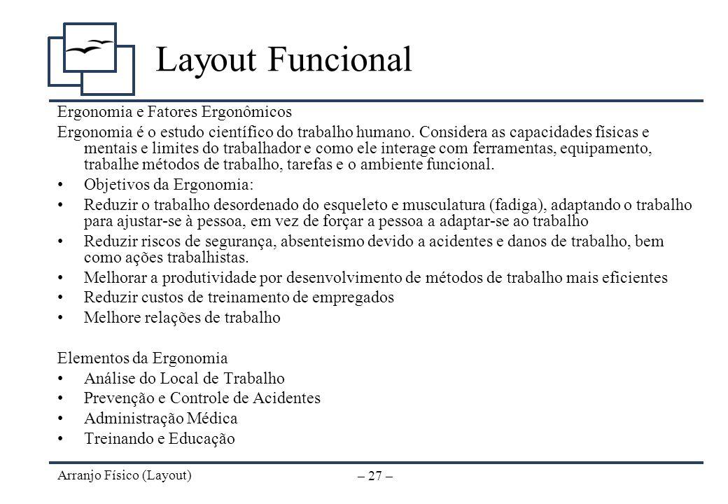 Layout Funcional Ergonomia e Fatores Ergonômicos
