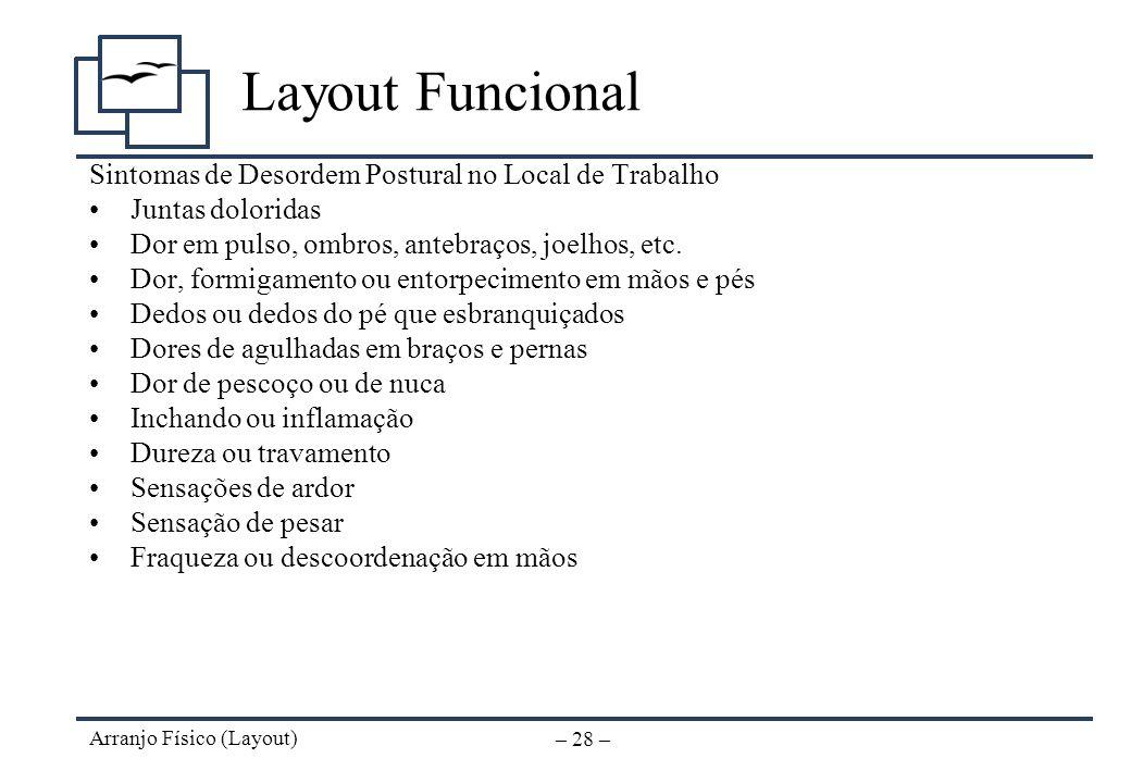 Layout Funcional Sintomas de Desordem Postural no Local de Trabalho