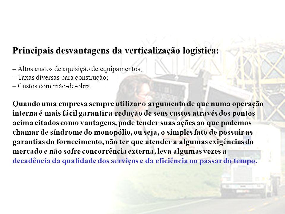 Principais desvantagens da verticalização logística: