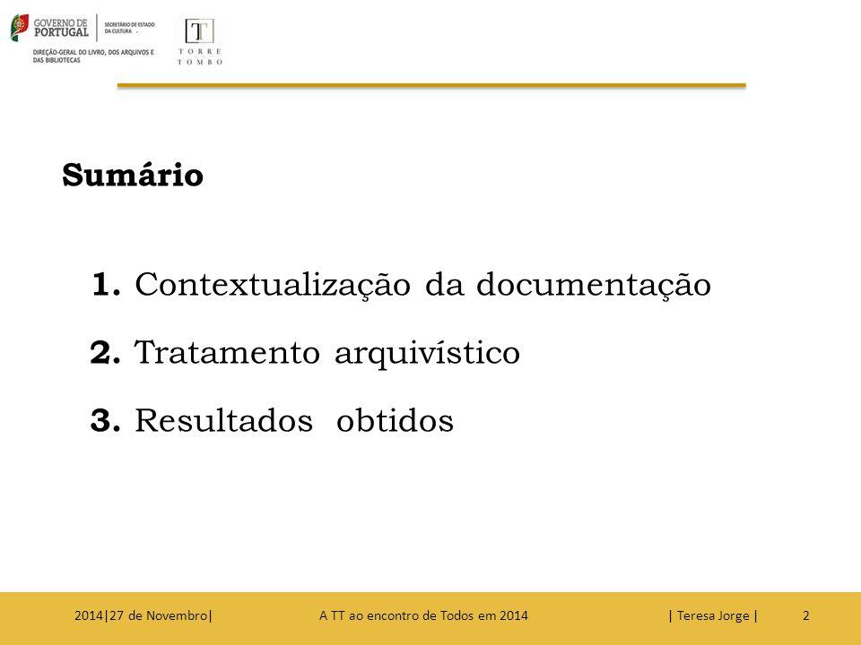 1. Contextualização da documentação 2. Tratamento arquivístico