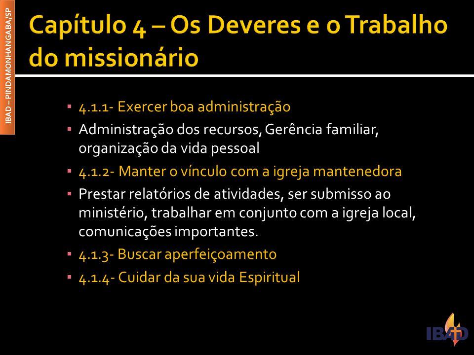 Capítulo 4 – Os Deveres e o Trabalho do missionário