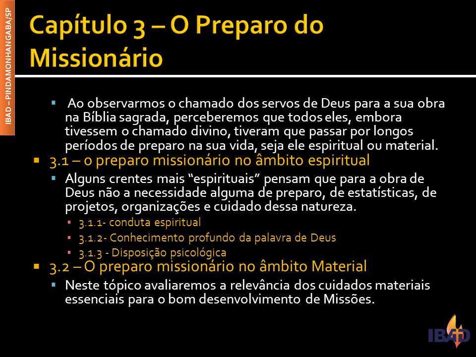 Capítulo 3 – O Preparo do Missionário