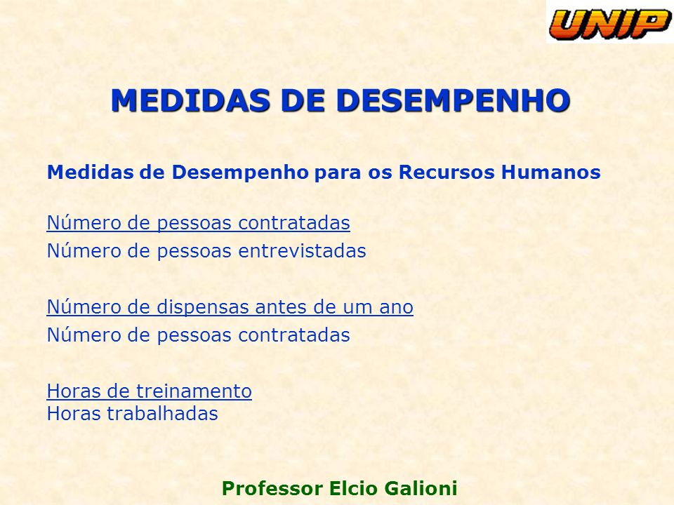 MEDIDAS DE DESEMPENHO Medidas de Desempenho para os Recursos Humanos