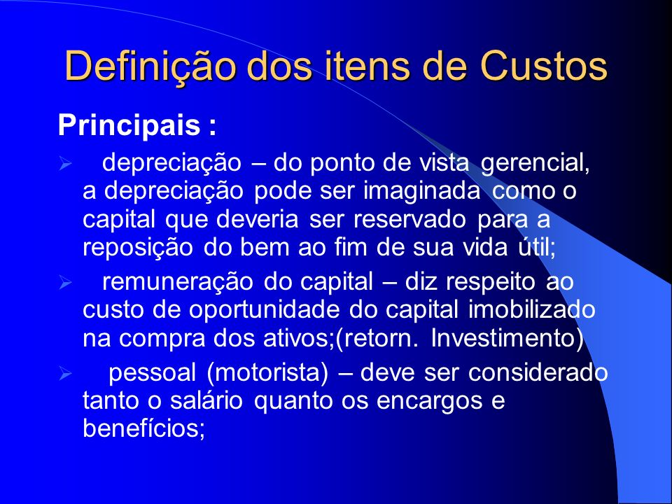 Definição dos itens de Custos