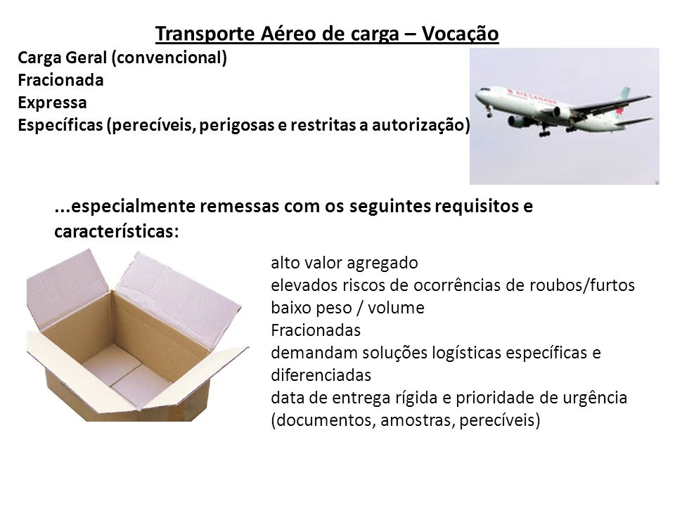 Transporte Aéreo de carga – Vocação