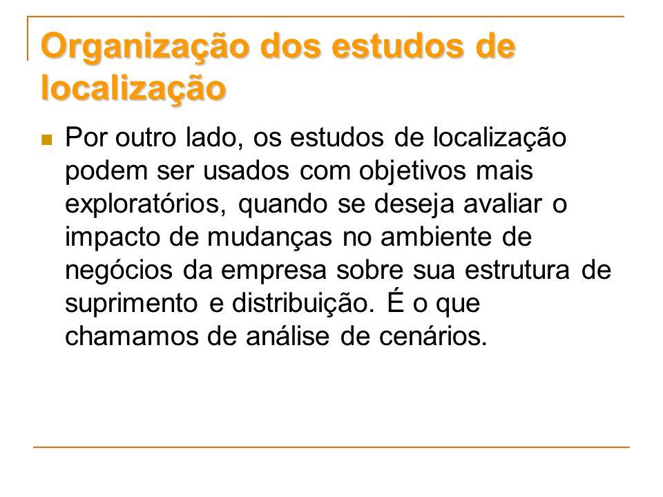 Organização dos estudos de localização