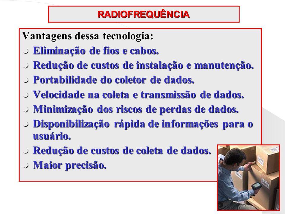 Vantagens dessa tecnologia: Eliminação de fios e cabos.