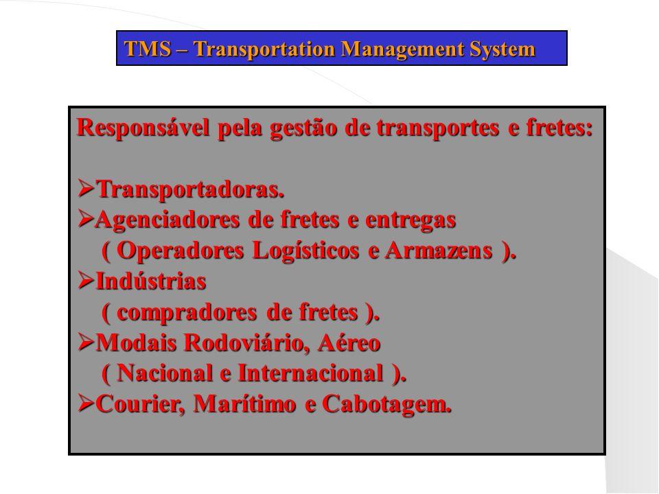 Responsável pela gestão de transportes e fretes: Transportadoras.