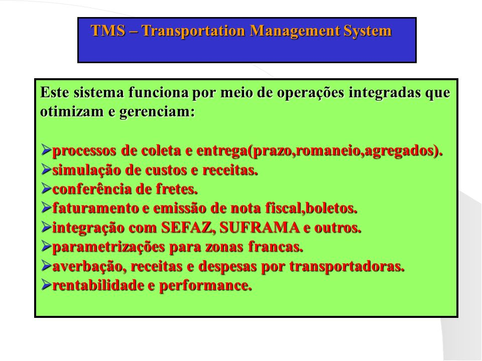 TMS – Transportation Management System